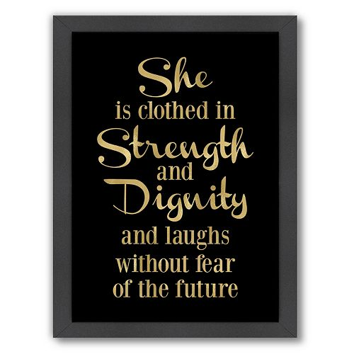 """Americanflat """"She Is Clothes In Strength"""" Framed Wall Art"""