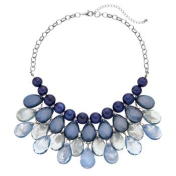 Blue Ombre Beaded Teardrop Necklace