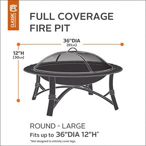 Classic Accessories Ravenna Large Round Fire Pit Cover Full Coverage