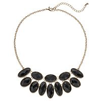 Black Faceted Oval Necklace