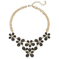 Black Multi Strand Flower Statement Necklace