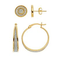 18k Gold Over Silver Stud & Hoop Earring Set