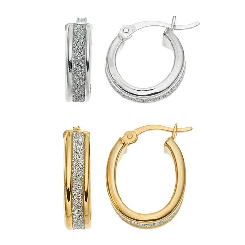 Platinum Over Silver & 18k Gold Over Silver Hoop Earring Set