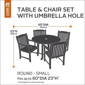 Classic Accessories Veranda Small Round Patio Table Cover & Umbrella Hole