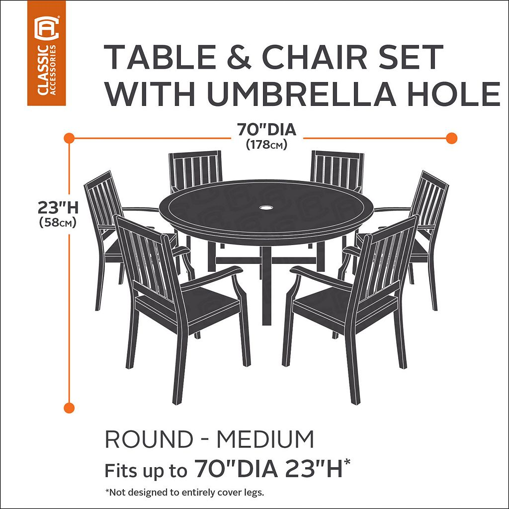 Classic Accessories Veranda Large Round Patio Table Cover & Umbrella Hole