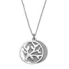 Platinum Over Silver Tree Of Life Pendant Necklace