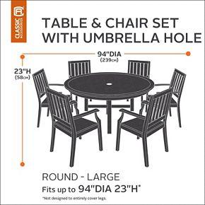 Classic Accessories Veranda Medium Round Patio Table Cover & Umbrella Hole
