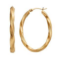 Sterling Silver Twist Oval Hoop Earrings