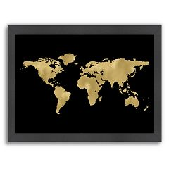 Americanflat World Map Framed Wall Art