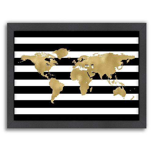 Americanflat World Map Framed Wall Art