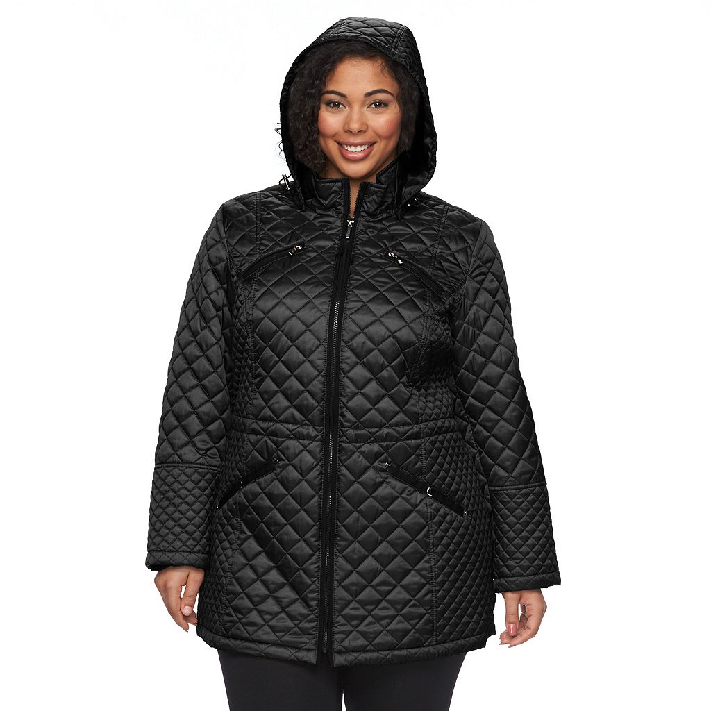 Plus Size Braetan Hooded Long Quilted Jacket