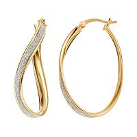 Sterling Silver Twist Oval Hoop Earrings