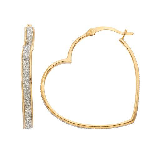 a23d390f73046 Sterling Silver Heart Hoop Earrings