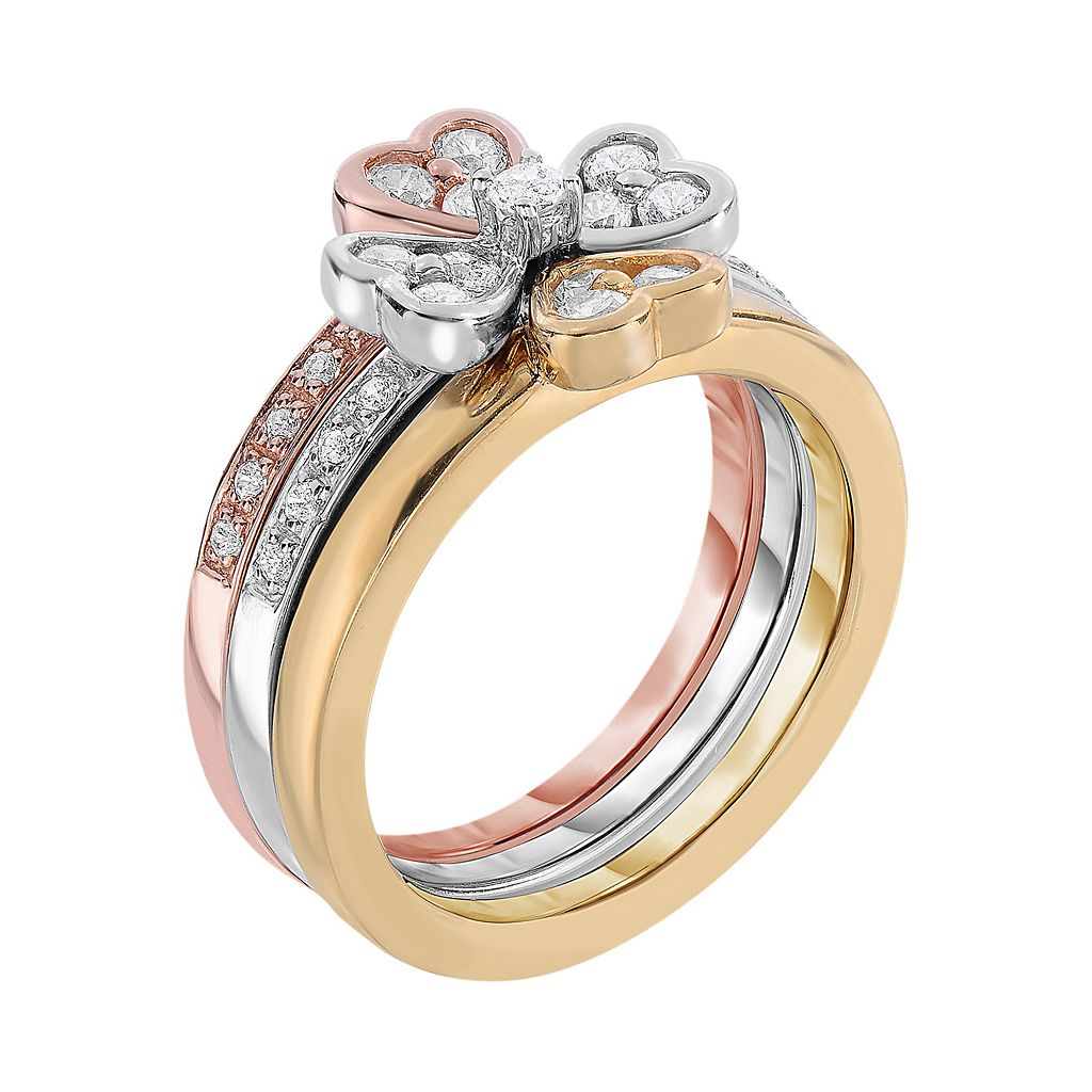 Tri-Tone Sterling Silver Cubic Zirconia Heart Stack Ring Set