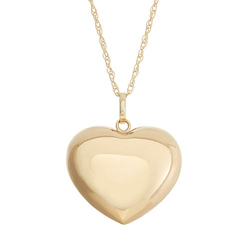 14k Gold Puffed Heart Pendant Necklace