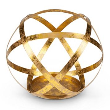 Gold Finish Sphere Large Candle Holder