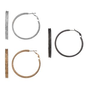 Mudd® Tri Tone Rope Double Hoop Earring Set