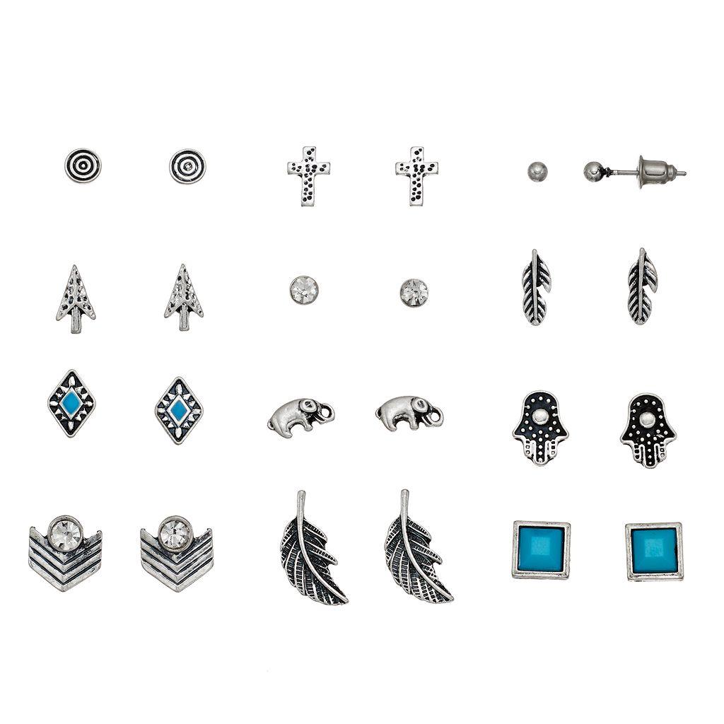 Mudd® Antiqued Cross, Elephant & Hamsa Nickel Free Stud Earring Set