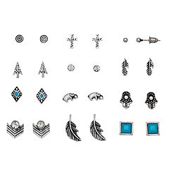 Mudd® Antiqued Cross, Elephant & Hamsa Nickel Free Stud Earring Set
