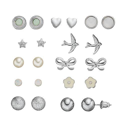 Mudd® Heart, Star, Bird & Bow Stud Earring Set