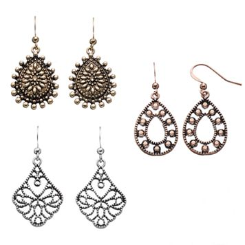 Filigree Teardrop Earring Set