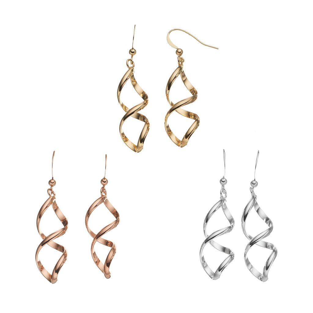 Tri Tone Twist Drop Earring Set