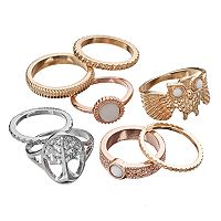 Mudd® Owl & Tree of Life Textured Ring Set