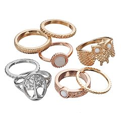 Mudd® Owl & Tree of Life Textured Ring Set