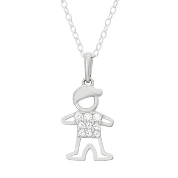 Junior Jewels Kids' Sterling Silver Cubic Zirconia Boy Pendant Necklace