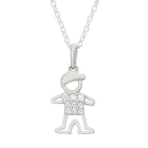Junior Jewels Kids' Sterling Silver Cubic Zirconia Boy Pendant Necklace