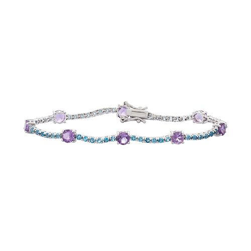 Sterling Silver Amethyst & London Blue Topaz Tennis Bracelet