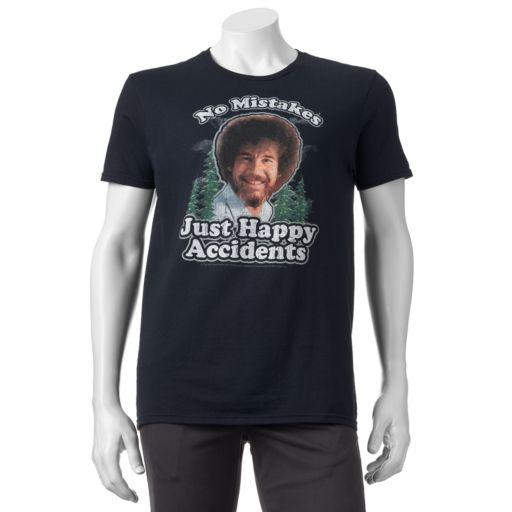 """Men's Bob Ross """"No Mistakes, Just Happy Accidents"""" Tee"""