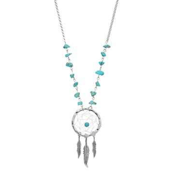 Mudd® Long Simulated Turquoise Beaded Dream Catcher Necklace