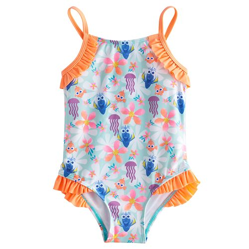 b32eeb765f Disney / Pixar Finding Dory Toddler Girl Ruffled One-Piece Swimsuit by  Jumping Beans®
