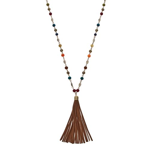 Mudd® Long Flower & Leaf Tassel Necklace