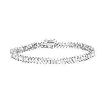 Sterling Silver Lab-Created White Sapphire Marquise Tennis Bracelet