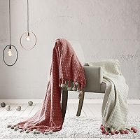 Cross Stitch Pom-Pom 2-pack Cotton Throws