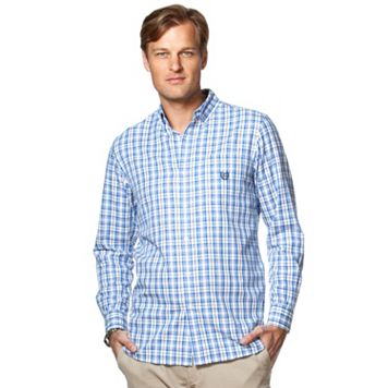 Men's Chaps Classic-Fit Gingham-Plaid Easy-Care Twill Button-Down Shirt