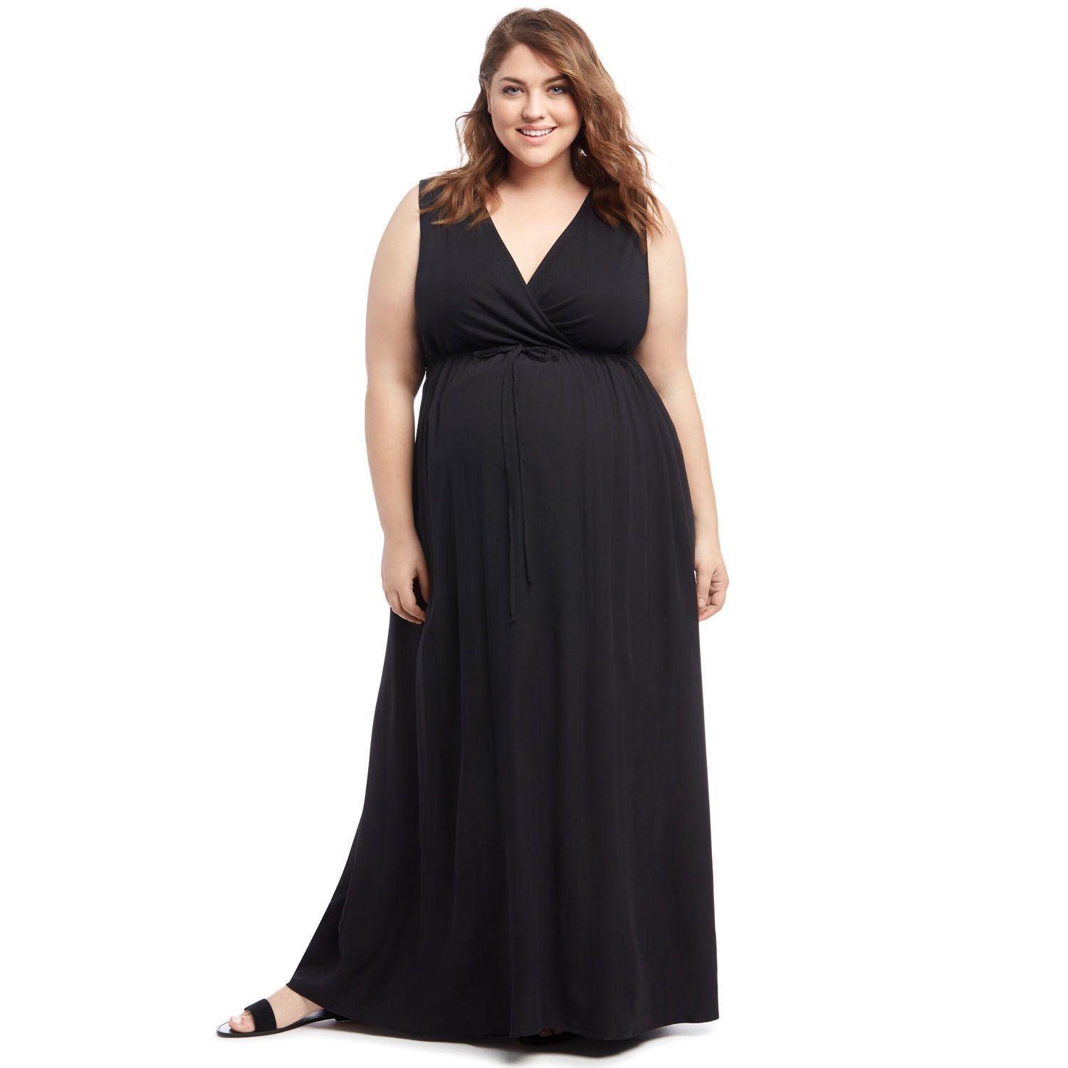 Plus Size Maternity Oh Baby by Motherhood? Surplice Maxi Dress