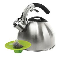 Primula 3-qt. Stainless Steel Whistling Tea Kettle with Tea Bag Buddy