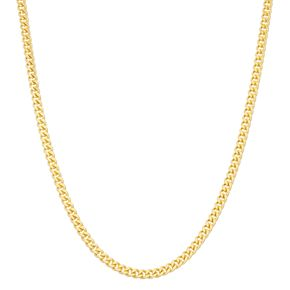 14k Gold Over Silver Adjustable Curb Chain Necklace