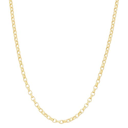 14k Gold Over Silver Adjustable Rolo Chain Necklace