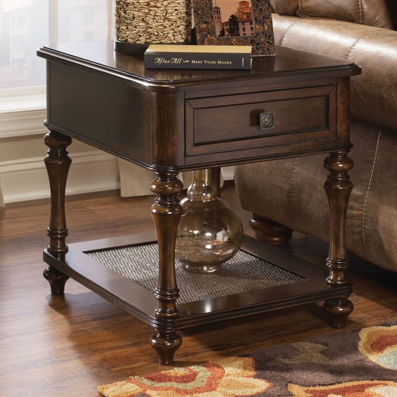 Bombay Passages 1-Drawer End Table, Brown