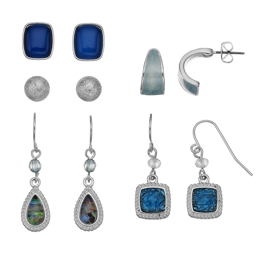 Blue Half Hoop, Drop & Stud Earring Set