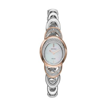 Seiko Women's Core Crystal Two Tone Stainless Steel Solar Watch - SUP306