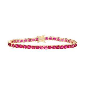 14k Gold Over Silver Lab-Created Ruby Tennis Bracelet
