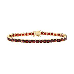 14k Gold Over Silver Garnet Tennis Bracelet