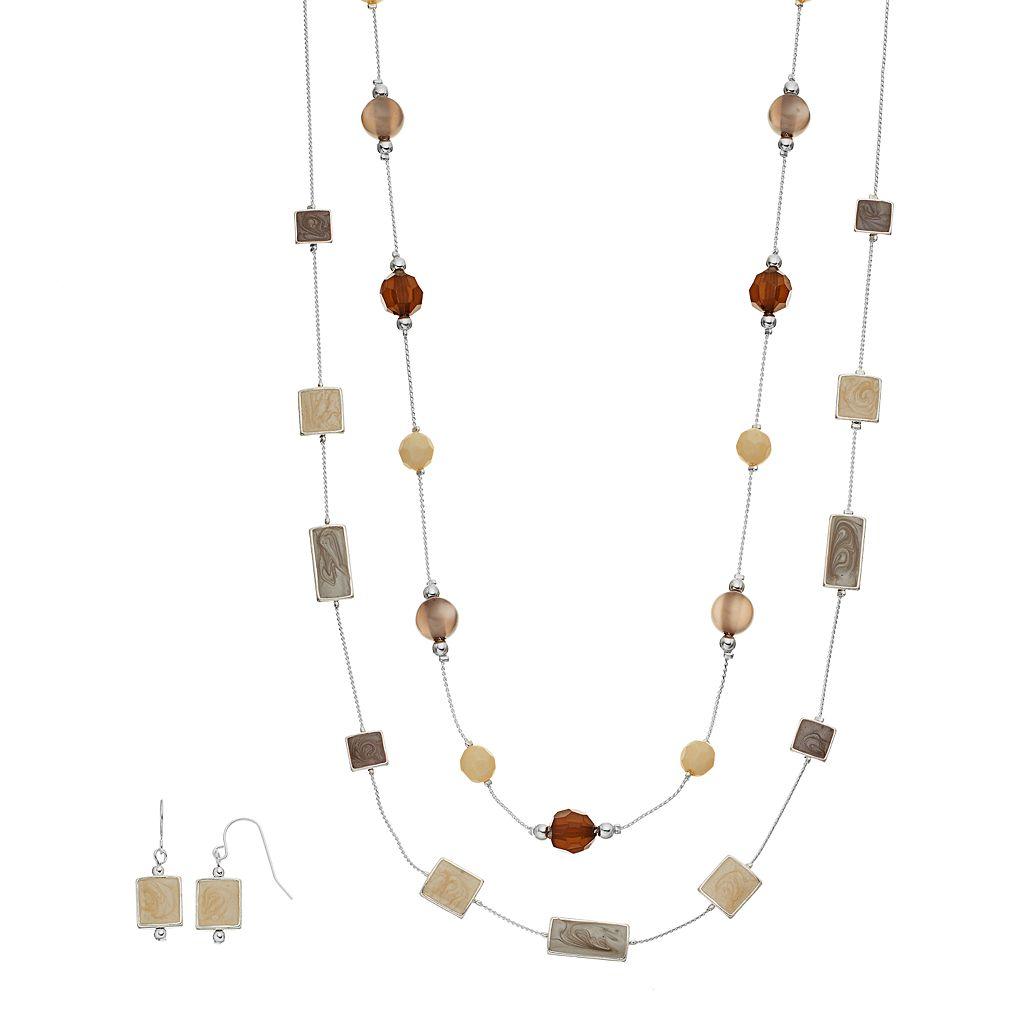 Multi Strand Station Necklace & Drop Earring Set