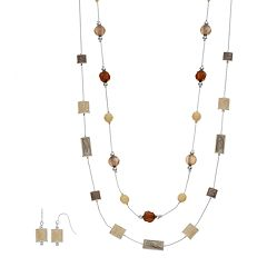 Multi Strand Station Necklace & Drop Earring Set