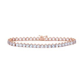 14k Rose Gold Over Silver Lab-Created Aquamarine Tennis Bracelet